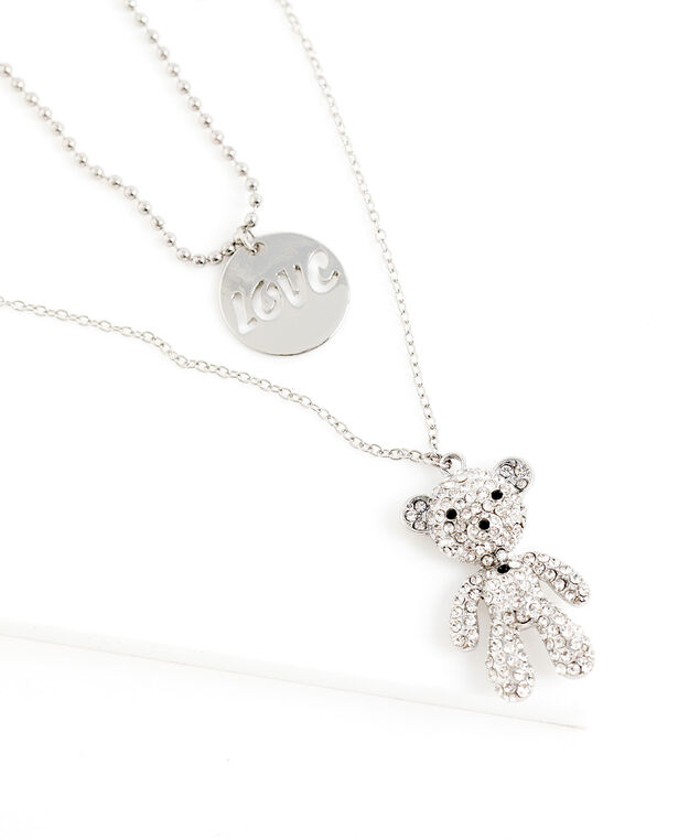 Teddy Bear Love Layered Necklace, Silver