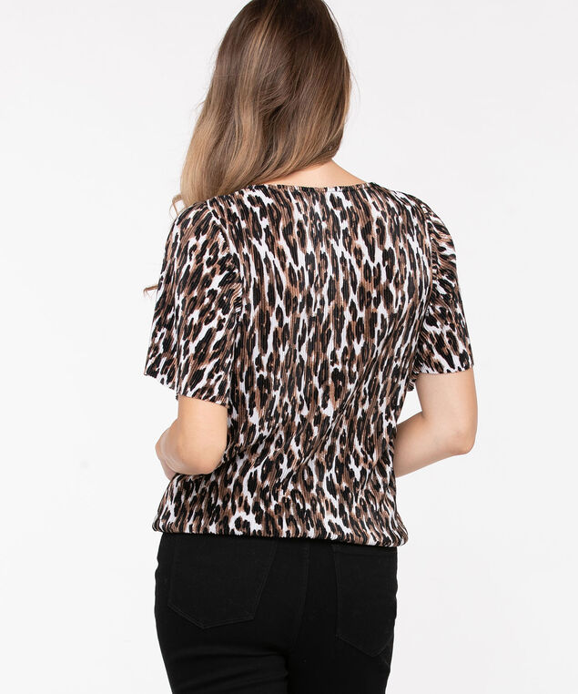 Leopard Print Pleated Top, Black/Praline/Sand, hi-res
