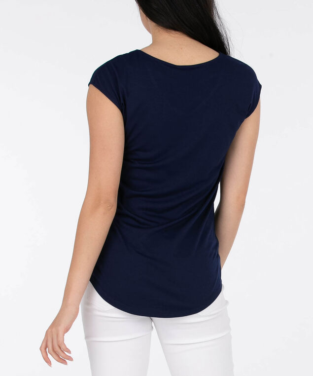 Cross Front Extended Sleeve Top, Deep Sapphire, hi-res