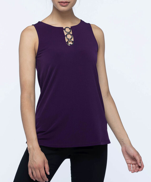 Silver-Link Neckline Sleeveless Top, Dark Purple, hi-res