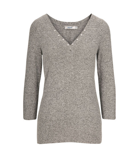 Studded Henley Knit Top, Grey, hi-res