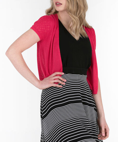 Pointelle Short Sleeve Cardigan, Watermelon, hi-res