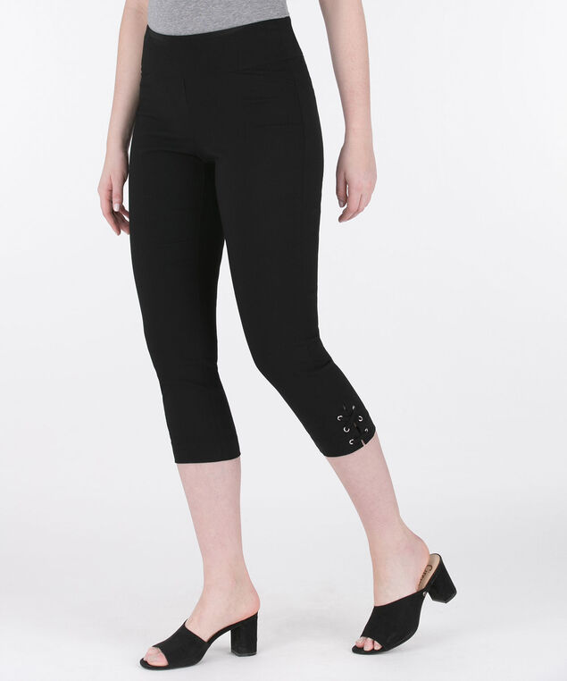 Microtwill Lace Up Capri, Black, hi-res