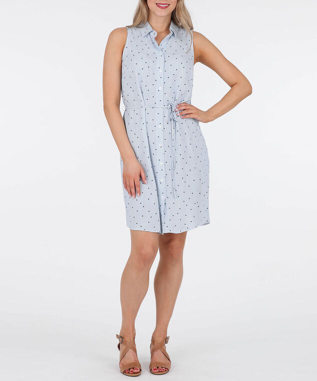 Sleeveless Button Front Shirt Dress, Blue/White, hi-res