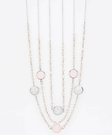 Multi Strand Seed Bead & Stone Necklace, Cameo Pink/Rhodium, hi-res