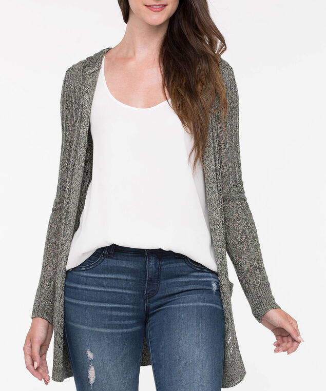 Pointelle Hooded Open Cardigan, Light Sage, hi-res