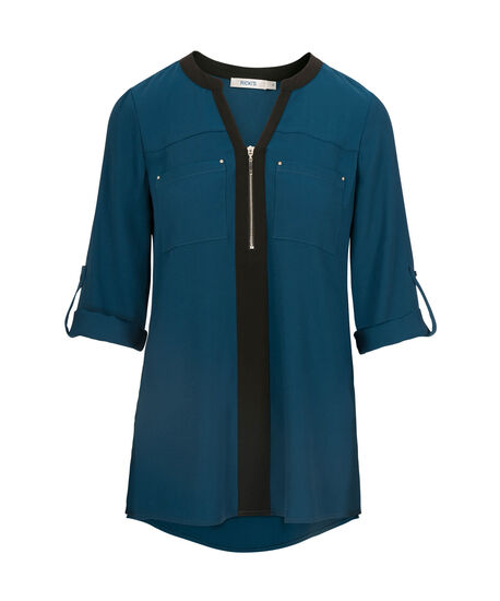 Roll Sleeve Zip Front Blouse, Midnight Teal/Black, hi-res