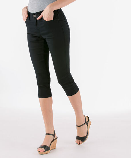 Fly-Front Jegging Capri, Black, hi-res