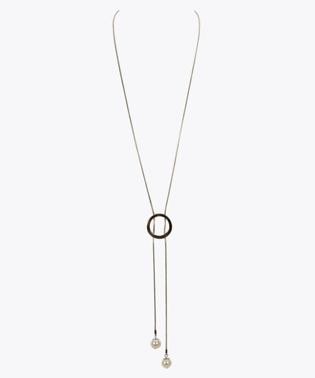 Pearl & O-Ring Lariat Necklace, Rhodium/Pearl, hi-res