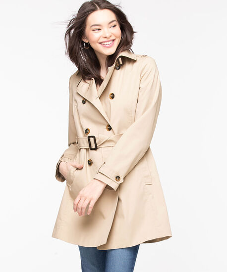 Belted Double Breasted Trench Coat, Tan, hi-res