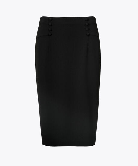 Button-Detail Scuba Pencil Skirt, Black, hi-res