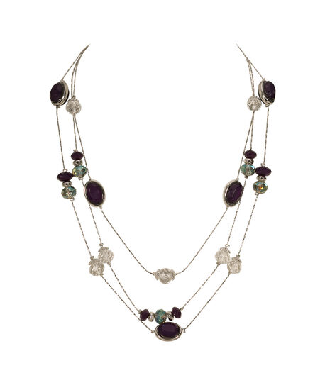 Multi-Row Stationed Bead Necklace, Deep Purple/Rhodium, hi-res