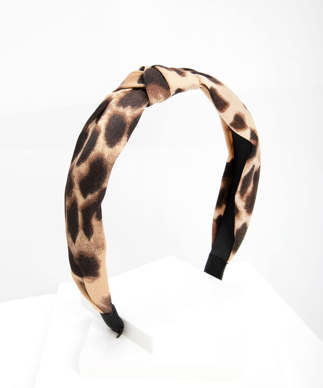 Leopard Print Hairband, Black/Almond/Oatmeal, hi-res