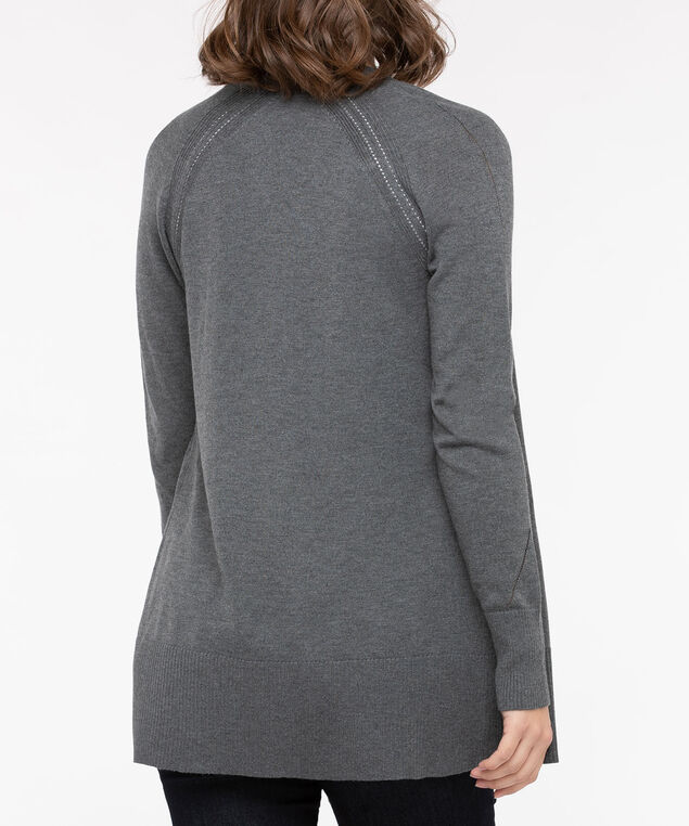 Zipper Pocket Open Cardigan, Mid Heather Charcoal, hi-res