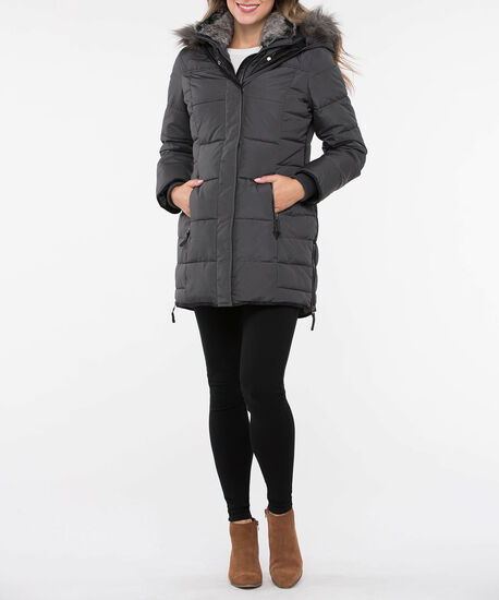 Hooded Zip Detail Puffer Coat, Grey, hi-res