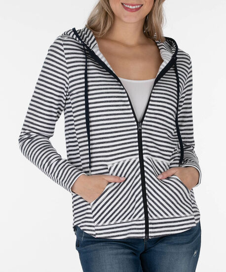 Striped Zipper Front Hoodie, Summer Navy/White, hi-res