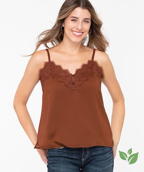 Recycled Strappy Lace Trim Cami, Rust, hi-res