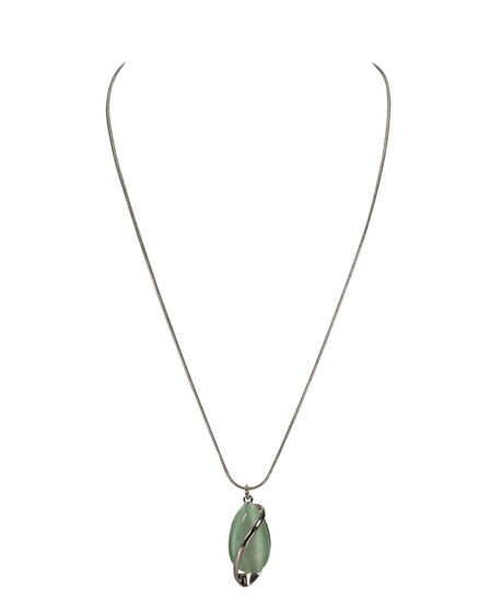 Teardrop & Swirl Cateye Necklace, Mint/Rhodium, hi-res
