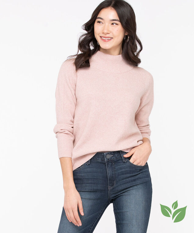Eco-Friendly Mock Neck Sweater, Rose Smoke, hi-res