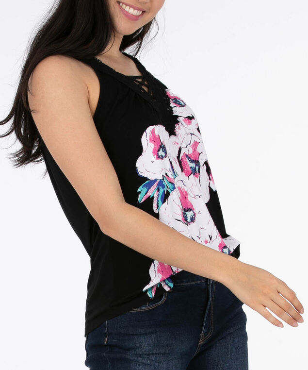 Sleeveless Crochet Trim Top, Black/Pink/White, hi-res