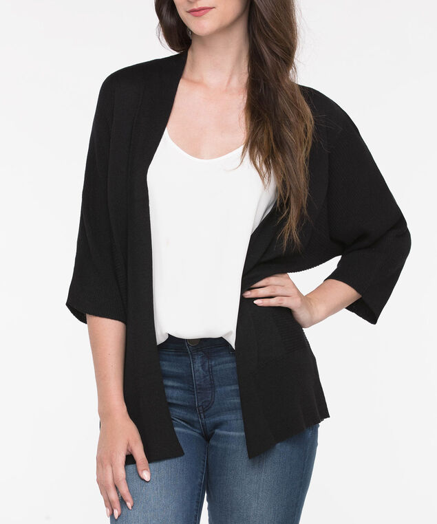 Ribbed Wide Sleeve Open Cardigan, Black, hi-res