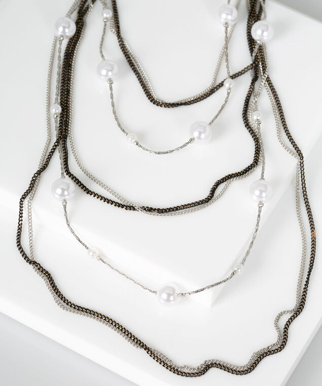 Stationed Pearl Statement Necklace, Pearl/Rhodium/Black, hi-res