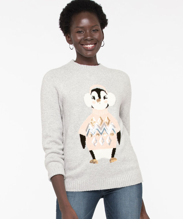 Sequin Penguin Holiday Sweater, Light Grey/Peach Pink, hi-res
