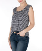 Ruched Scoop Neck Top, Black/Pearl, hi-res