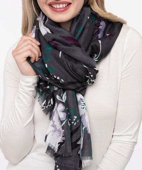 Floral Oblong Scarf, Mid Heathered Charcoal/Plum/Ivy, hi-res