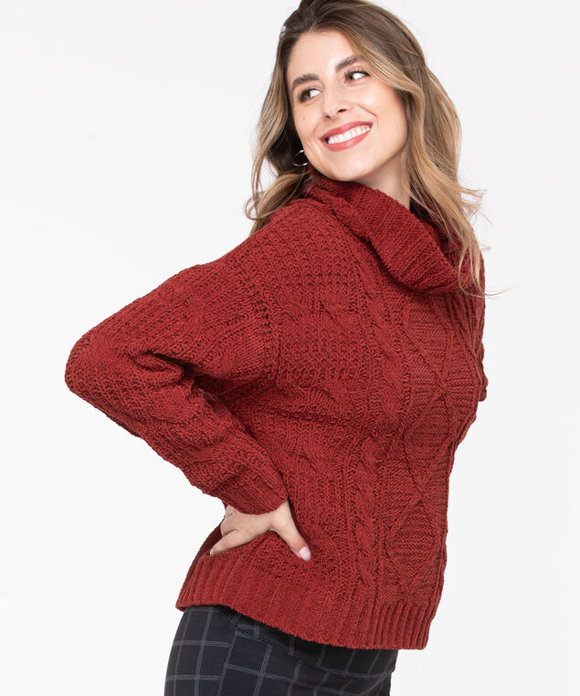 Cable Knit Cowl Neck Sweater, Roasted Beet, hi-res