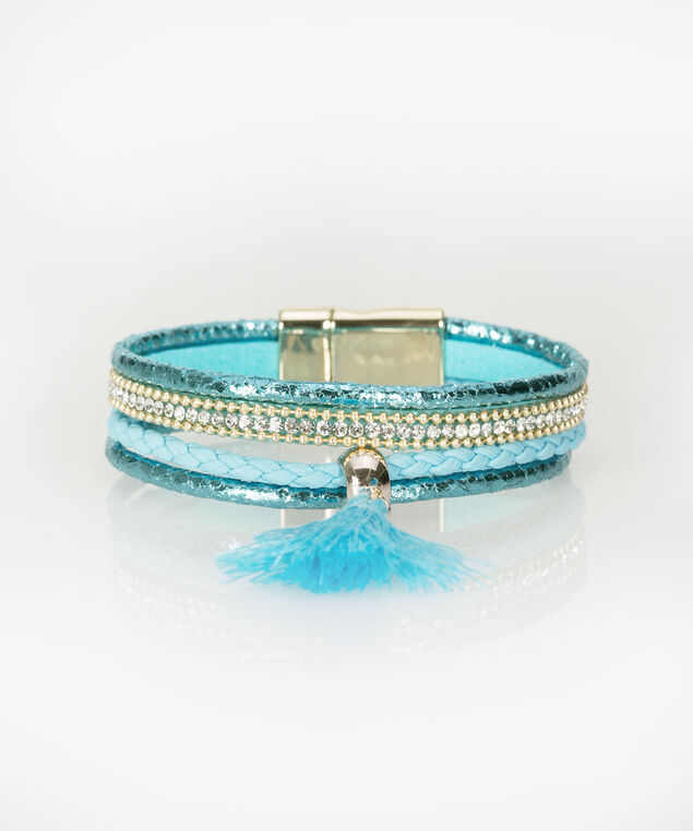 Tassel & Crystal Wrap Bracelet, Tropical Teal/Aqua, hi-res