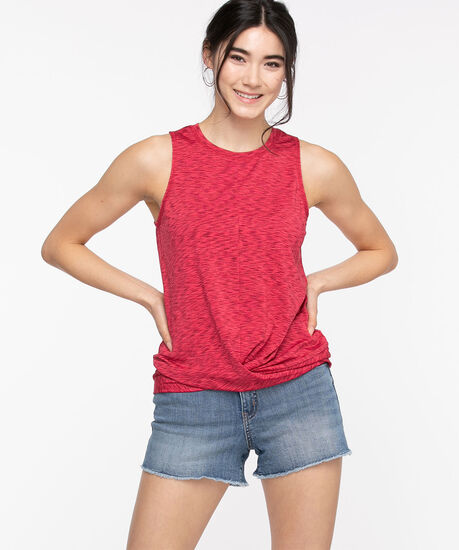 Sleeveless Twist Front Activewear Top, Rouge Red, hi-res