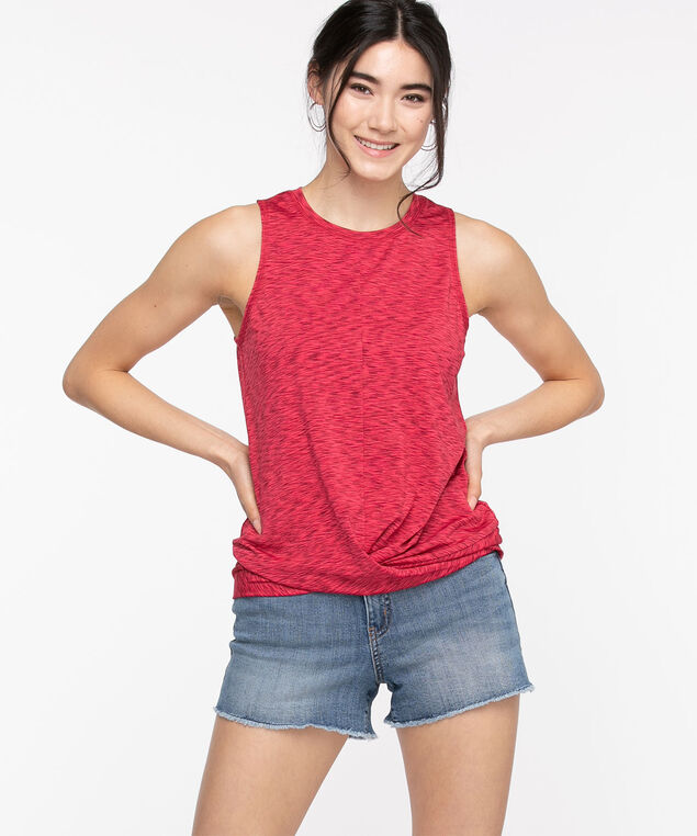 Sleeveless Twist Front Activewear Top, Rouge Red