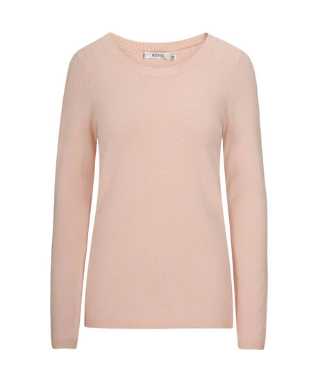 Pearl Embellished Pullover Sweater, Pale Pink, hi-res