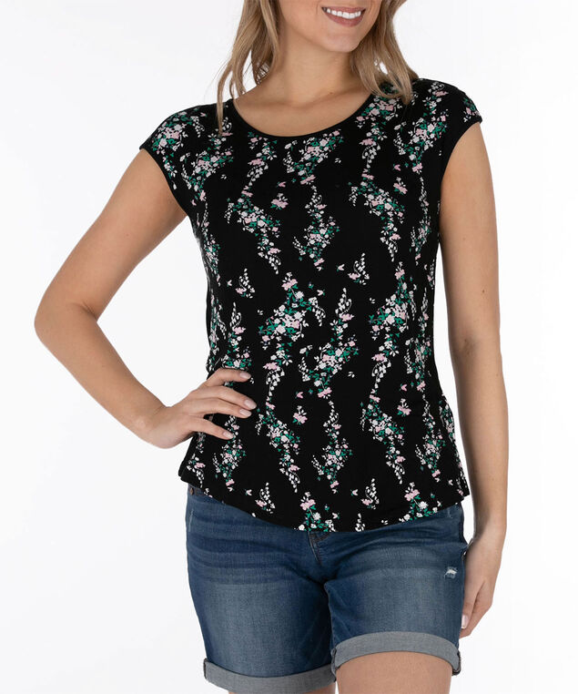 Cross Back Extended Sleeve Top, Black/Pink/Green/Pearl, hi-res