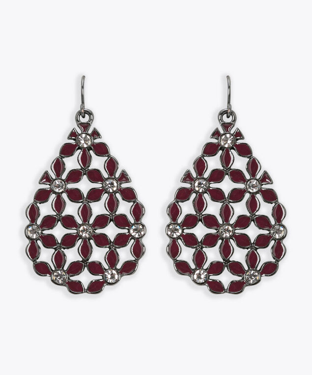 Painted Flower Teardrop Earring, Rhodium/Burgundy, hi-res