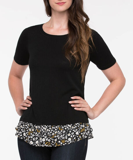 Short Sleeve Fooler Sweater, Black/Pearl/Mustard, hi-res