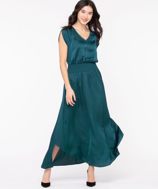 Satin Tulip Sleeve Long Dress, Teal, hi-res