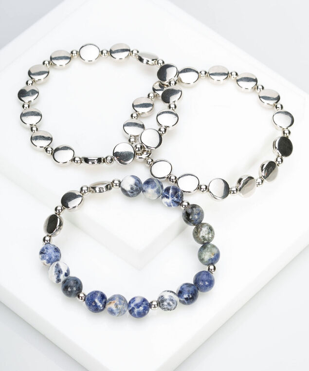 Metal & Bead Stretch Bracelet Set, Summer Navy/Silver, hi-res