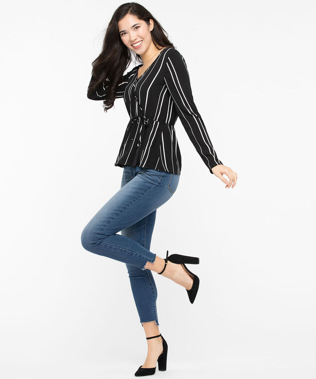 Striped Peplum Hem Wrap Blouse, Black/Pearl, hi-res
