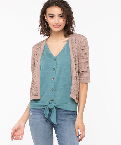 Short Sleeve Pointelle Cropped Cardigan, Sand, hi-res