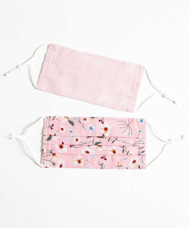 Printed Face Mask 2-Pack, Pink/Pink Floral