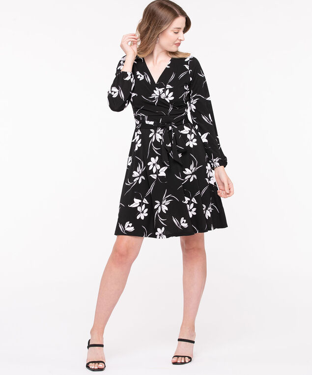 Long Sleeve Faux Wrap Dress, Black/Pearl, hi-res