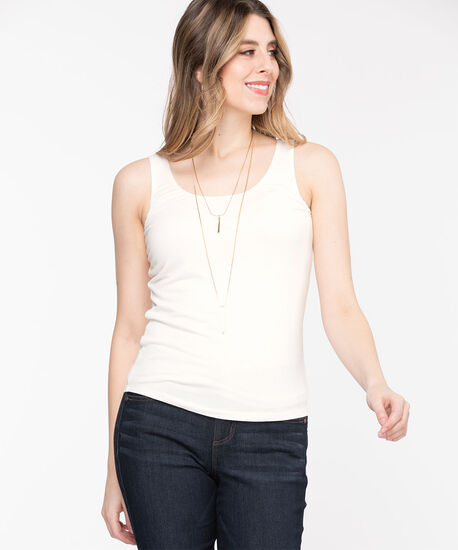 Double Layer Smoothing Cami, Ivory, hi-res