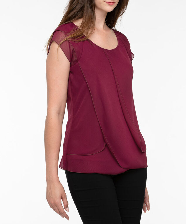 Short Sleeve Tulip Hem Blouse, Burgundy, hi-res