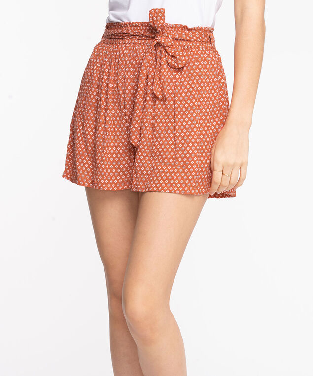 Tie Waist Patterned Crinkle Short, Orange/Pearl