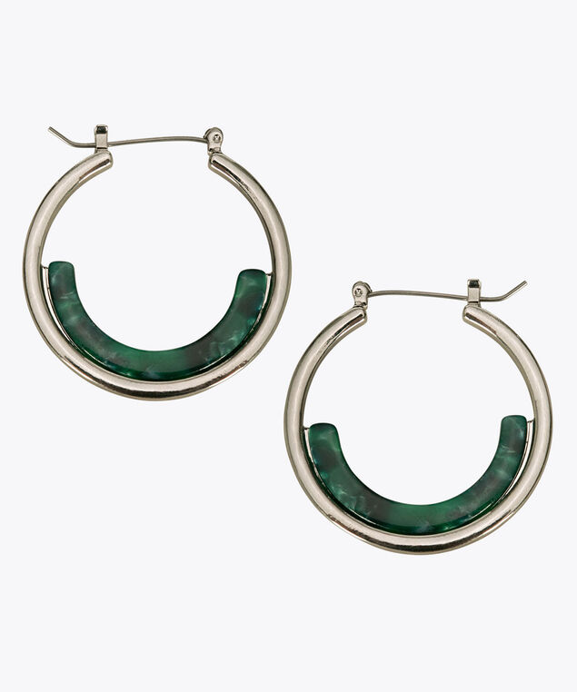 Resin & Metal Hoop Earring, Green/Rhodium, hi-res