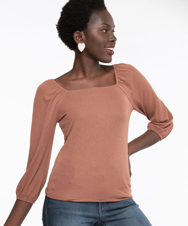 Square Neck 3/4 Sleeve Top, Burro