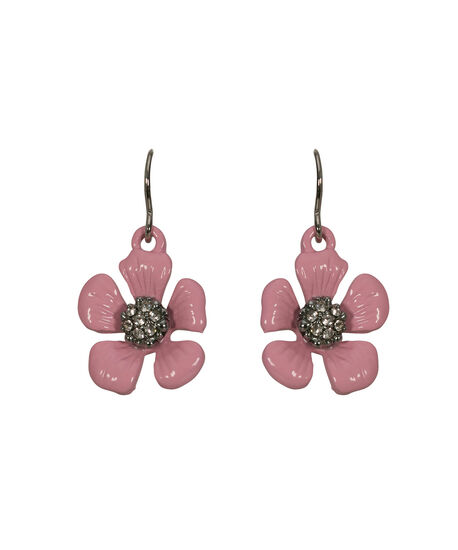 Pink Flower Earring, Pale Pink/Rhodium, hi-res