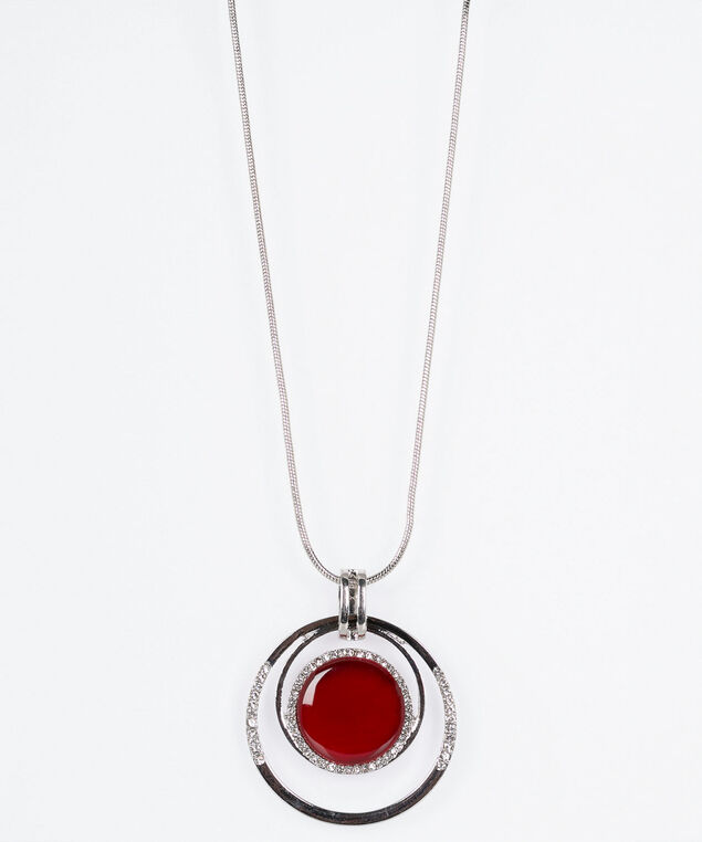 Cateye & Crystal Hoop Pendant Necklace, Crimson/Rhodium, hi-res